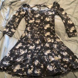 AEO dress - gray w/ white flowers